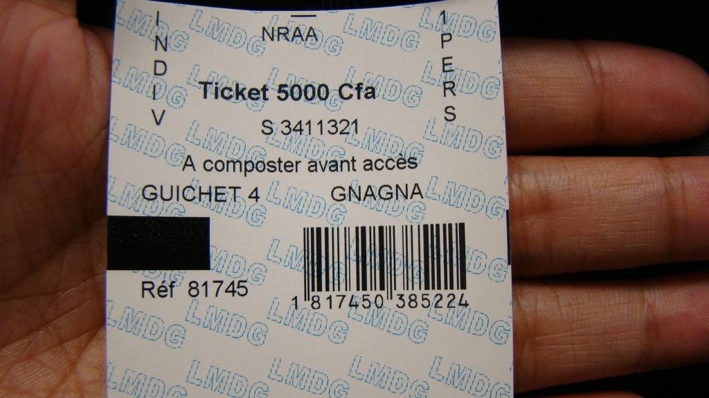 Ticket pour la ville de Gorée